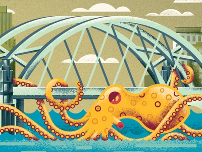Octopus Attack! river city architecture bridge animal octopus distress texture illustration