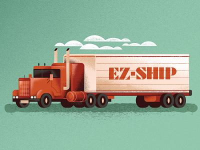 Keep on truckin' transportation moving day shipping trailer semi vehicle truck distress texture illustration