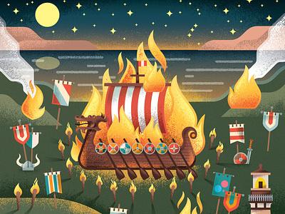 Viking Funeral scotland warriors festival boat ship funeral viking two dots distress texture illustration
