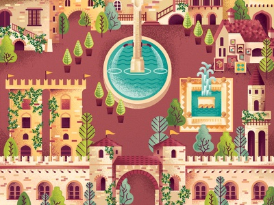 Two Dots Italian Courtyard trees vines fountain village town city building villa italian italy map videogame game two dots texture illustration