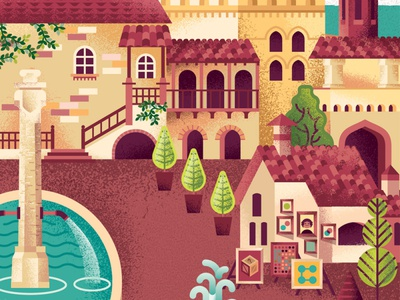 Two Dots Italy detail trees fountain building city town village villa italy map game videogame two dots texture illustration