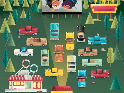 Two Dots Drive In Theatre Map vehicle vector hot rods cars 1950s videogame game theatre theater drive in film movie illustration