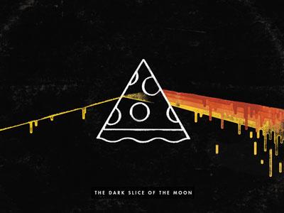 Dark Slice of the Moon illustration texture distress pizza food prism pink floyd psych progdrip