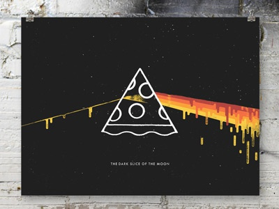 Dark Slice of the Moon poster poster illustration texture parody pizza slice pie cheese pink floyd prog rock