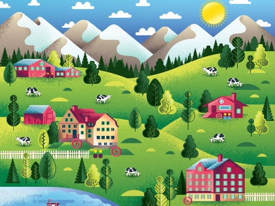 Two Dots Swiss Alps agriculture barn bovine cow animal farm nature outdoors mountains alps switzerland swiss treasure map iphone videogame illustration two dots