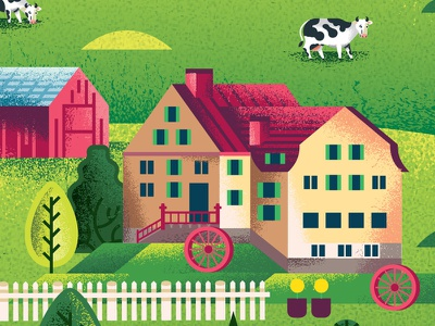 Two Dots Swiss Alps detail agriculture barn bovine cow animal farm nature outdoors mountains alps switzerland swiss treasure map iphone videogame illustration two dots