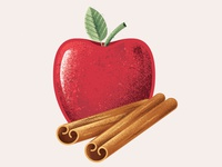 Apple Cinnamon Icon icon illustror vector cinnamon apple baby food package design packaging food texture illustration