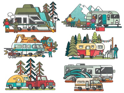 RV Camping vector recreation vacation nature trailer rv campervan camper camping editorial illustration editorial distress texture illustration