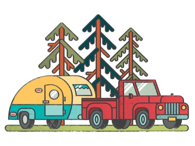 RV Camping vector editorial illustration editorial trees nature truck rv campervan camping campers camper distress texture illustration