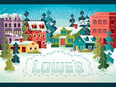 Lowe's winter neighborhood giftcard snow trees cottage apartment home house christmas winter neighborhood giftcards giftcard illustration
