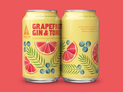 Grapefruit Gin & Tonic can drink plants floral grapefruit cocktail can tonic gin alcohol package package design illustration