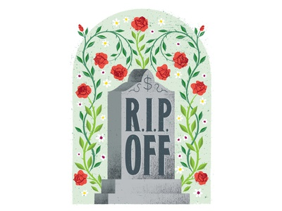 R.I.P. Off illustration texture distress editorial tombstone grave roses flowers vines leaves headstone