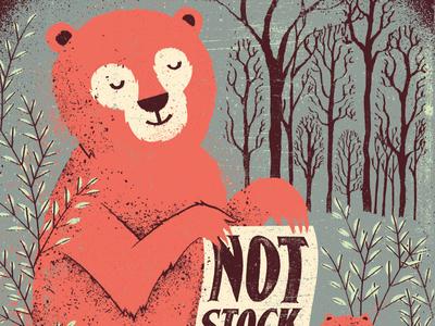 Notstock Poster illustration poster texture distress bear raccoon forest woods animals ferns plants