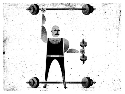 E is for Exercise distress illustration texture muscles e weightlifter weights exercise typography letter dumbbell