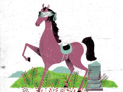 Blind Horse gigposter poster illustration texture distress horse field blindfold pillar column plants ferns