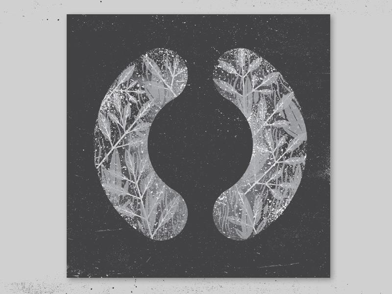 "Sigur Ros ""(  )"" screenprint illustration texture record cover sigur ros iceland plants foliage silver"