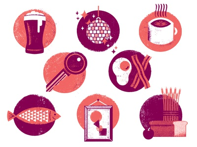 Airbnb Omaha Icon Set icons icon set logos distress texture editorial brunch dinner beer coffee wheat