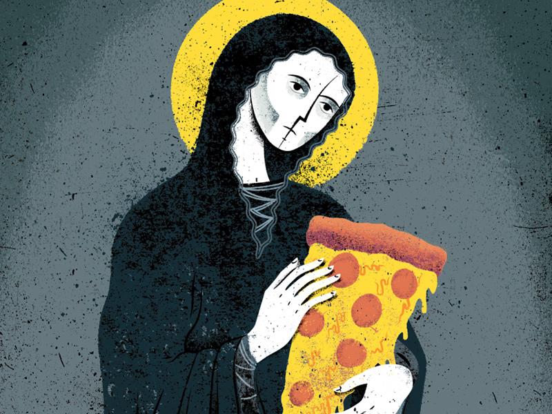 Pizzatheist illustration texture distress religious pizza mary renaissance halo cheese snacks food blasphemy