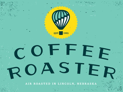 Coffee Roaster logo coffee air sun balloon hot air balloon icon typography logotype logo branding