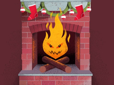 Season's Cheatings hearth scam garland stockings holidays christmas fireplace fire editorial distress texture illustration