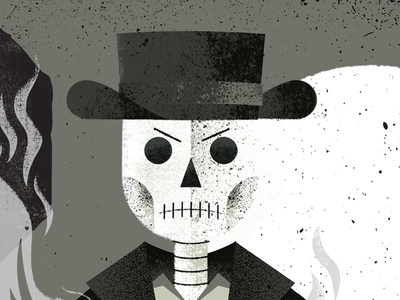 Dead Cowboy wild west western smoke hat skull skeleton cowboy poster gigposter texture illustration
