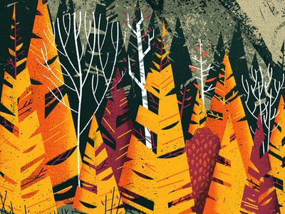 59 Parks Sneak Peek woods birch pines trees park forest mountain texture illustration