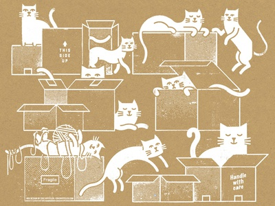 Cats in Boxes yarn string animals shipping cardboard boxes felines cats packaging texture illustration