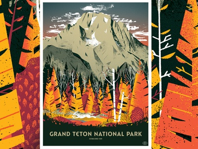 Grand Tetons National Park Poster animal wolf plans foliage trees woods forest mountains distress texture poster illustration