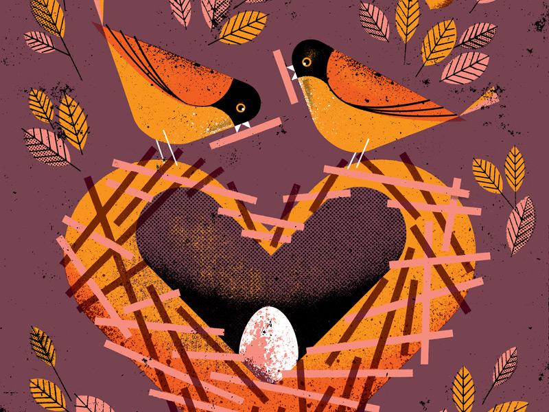 Designed With Love distress texture earnest children parents wren animals egg love nest bird illustration