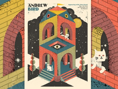 Andrew Bird Cathedral celestial pillars space psychedelic escher cat tower castle cathedral gigposter screenprint poster