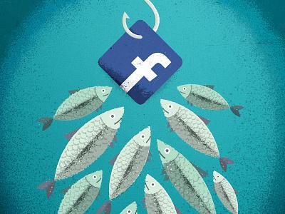 Social Media Phishing distress texture scam social media twitter facebook hook fish phish editorial