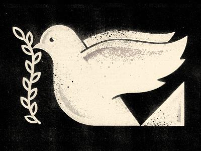 Dove gigposter editorial monochrome icon animal plant lily ivy peace dove bird