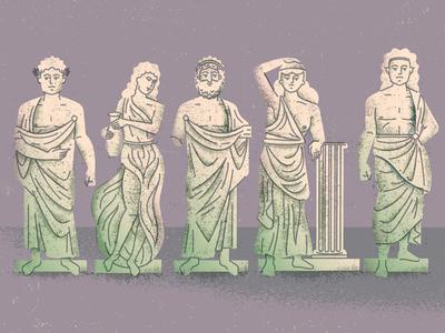 Statues art history goddess god bust roman greek statue screenprinting poster gigposter illustration