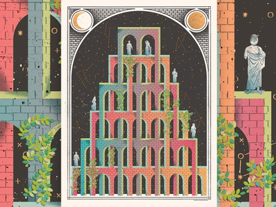Mystic Castle poster vines constellations statues optical illusion magic mystical mystic cathedral castle art print screenprint poster