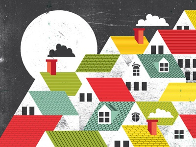Roof Tops  illustration drawing roof house building moon night chimney distress texture hill side