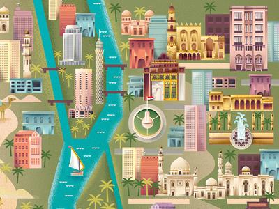 Cairo Map mosque city buildings map egypt pyramids sphinx cairo magazine editorial texture illustration