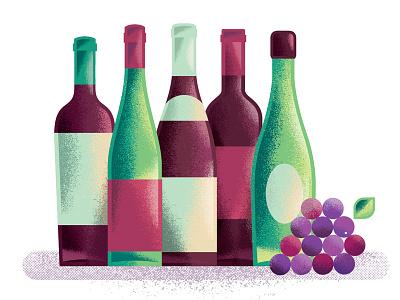 Wine party fruit ferment brew grapes booze alcohol wine magazine editorial texture illustration