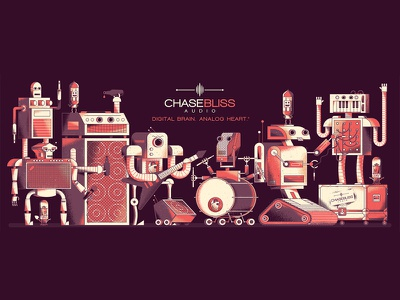Chase Bliss mural instruments music gear keyboard tube drums amplifier microphone pedals guitar mural texture illustration