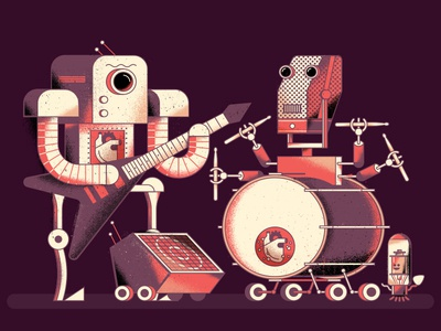 Chase Bliss robots instruments music gear keyboard tube drums amplifier microphone pedals guitar mural texture illustration