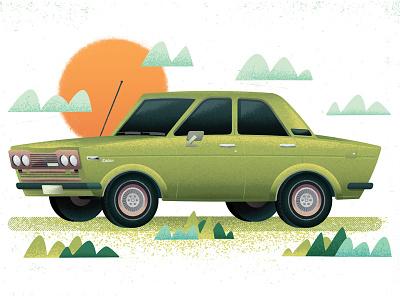 Datsun Spring sedan automobile season vintage spring vehicle datsun car texture illustration