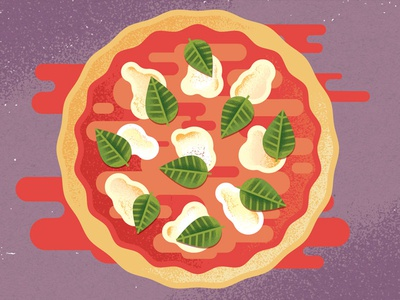 Pizza restaurant. culinary sauce cheese snack margherita food pizza texture editorial illustration