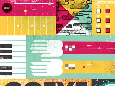Cotillion 02 illustration texture distress keyboard hands switches dials knob organ