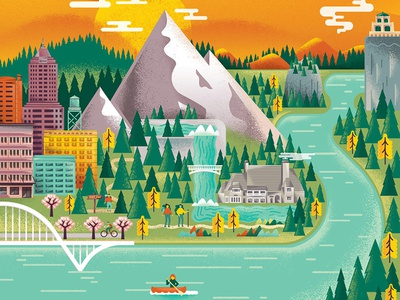 Keenfest Columbia River Gorge nature forest mountain gorge river columbia portland oregon screenprinting poster illustration