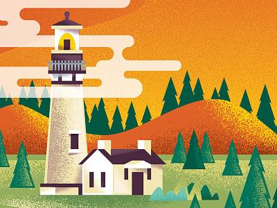 Keenfest Lighthouse lighthouse ocean coast portland oregon screenprinting poster illustration