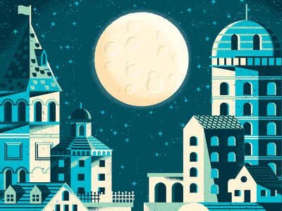 Blue City moon night home tower architecture buildings village town city texture spot illustration illustration