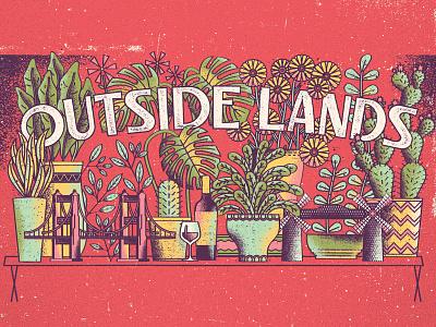 Outside Lands gigposter leaves bridge flowers cactus san francisco wine houseplants plants texture gigposter poster illustration