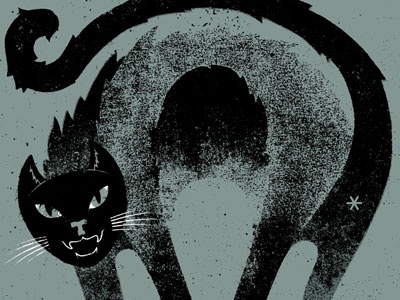 Bad Cat illustration texture distress cat animal poster pissed butthole