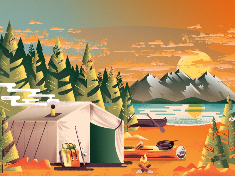 Autumn National Park backpacking lake forest sunset nature mountains canoe tent tree national parks national park camping illustration art