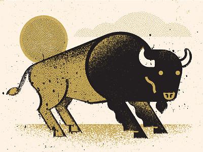 Sepia Buffalo vintage prairie western animal bison buffalo logo icon illustration