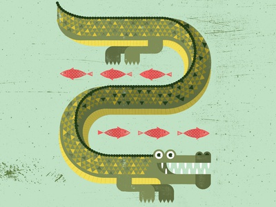 Gator nature swamp creature fish geometric animal animal crocodile croc alligator gator texture illustration